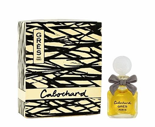 CABOCHARD - MINIATURE PARFUM - BOUCHON PLASTIQUE BLANC AVEC NOEUD GRIS - BOÎTE A RABAT : CONTENANCE NON INDIQUEE