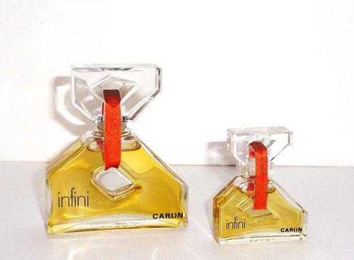 1970 - INFINI : 2 FLACONS  FACTICES - BOUCHON EN VERRE - 50 & 15 ML