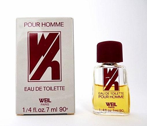 W - EAU DE TOILETTE POUR HOMME 7 ML 90° - BOUCHON PLASTIQUE BORDEAUX