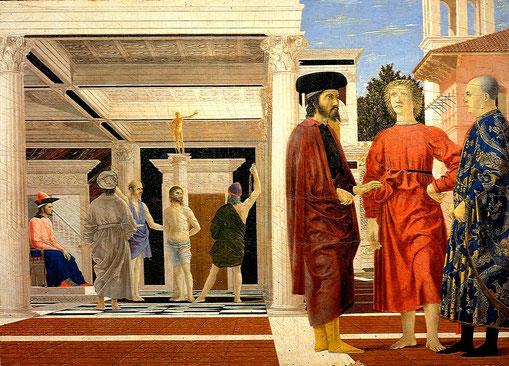 Piero della Francesca: Flagellazione di Gesù, con davanti tre personaggi che discutono ...