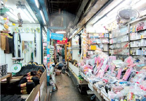 両脇、店が並び、細い迷路のような道をすり抜けていく