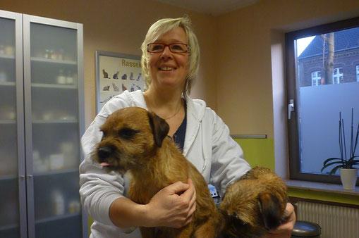 """unsere TAH Anke Klauke mit ihren Border Terriern """"Theo"""" und """"Fine"""""""