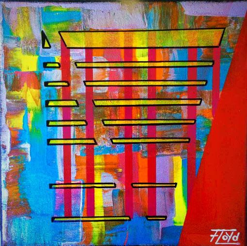 Blaue, gelbe und rote färbe dominiert auf dieser Arbeit. Metallisch glänzende Farben kamen sich zum Einsatz.