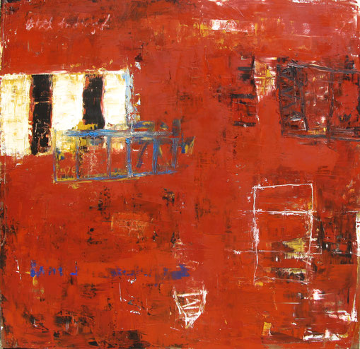 """Bill Fisher, """"Untitled Red,"""" 2008, oil and cold wax on panel, 48 x 48 inches, $9,000"""