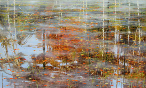 "Teri Malo, ""Of Water and Thereabouts,"" 2015, oil on panel, 30 x 50 inches, $7,500"