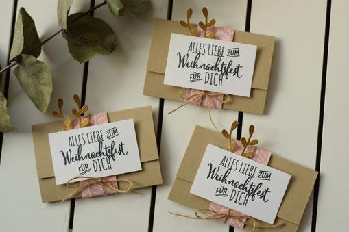 Stampin Up Flockengestöber Gutschein Karte Gutscheinverpackung Pop Up Stempel Basteln Schneeflocken