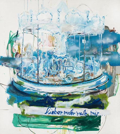 Martin Mohr  lieber Maler male mir  Acryl, Lack und Öl auf Baumwolle   200 x 180 cm