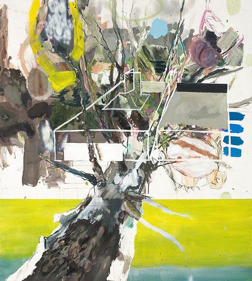 Martin Mohr  Baumhaus  Acryl, Lack und Öl auf Baumwolle   220 x 200 cm