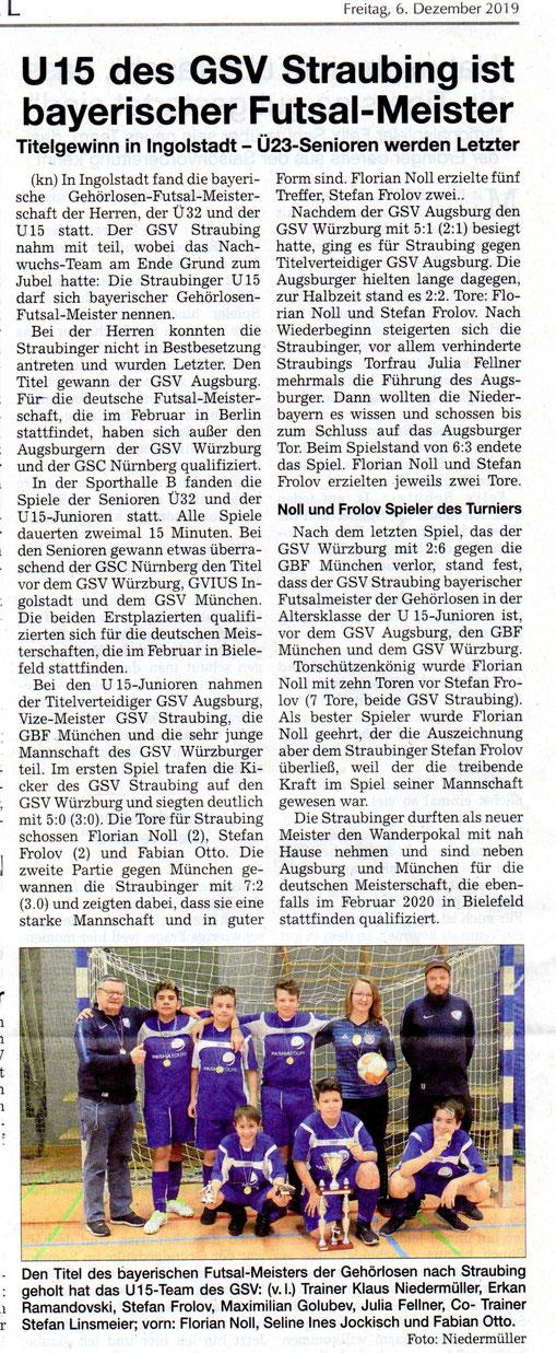 Quelle: Straubinger Tagblatt 06.12.2019