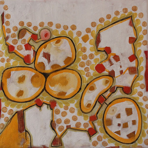 Nr. 2013-HO-002: 100 x 100 cm, Reibeputz, Rost, Acryl auf Leinwand
