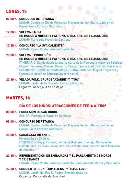 Feria y Fiestas de Jumilla Programa