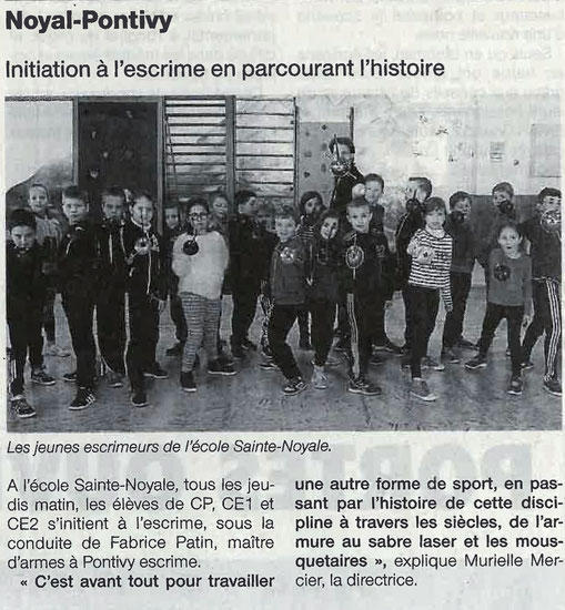 Cycle escrime scolaire Cycle 2 primaire sainte noyale