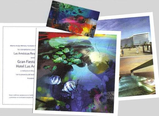 Tarjeta de invitación con obra serie Aqua de Rafael Espitia