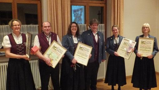 v. l. n. r.: Steffi Müller, Christoph Haberkorn, Katja Keller, Berthold Riedmann, Lisa Grässer und Daniela Städele