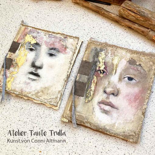 Mini-Bücher mit gemaltem Gesicht