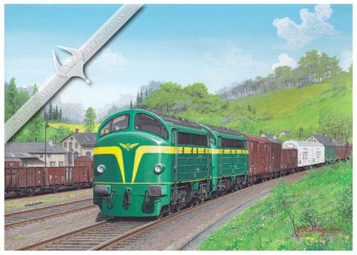 AFB Diesellok, SNCB 203 in Doppeltraktion vor schwerem Güterzug in den 60ern, Aquarell.