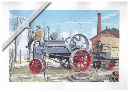 Altmann Trakteur, erster deutscher Traktor von 1894, Aquarell