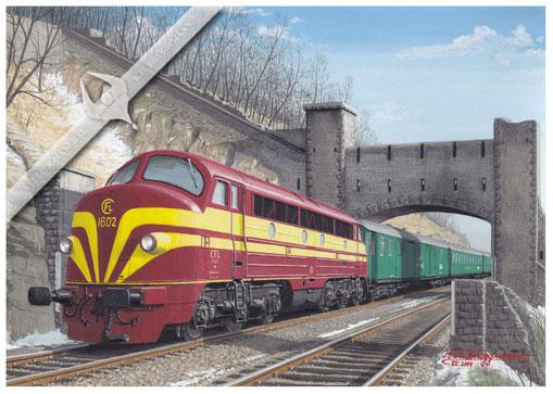 AFB Diesellok, CFL 1602 verläßt die Hauptstadt Luxemburg mit Schnellzug in den 60ern, Aquarell