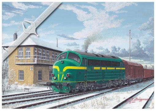 AFB Diesellok, SNCB 5210, auf der Vennbahn in Raeren, 80er Jahre Aquarell.