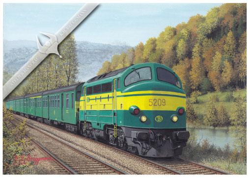 AFB Diesellok, SNCB 5209 mit Personenzug an der Meuse (Maas) Anfang der 80erJahre, Aquarell