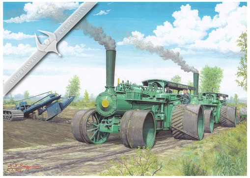 Ottomeyer Dampfpflug, Moorkultivierung in den 60ern, Aquarell