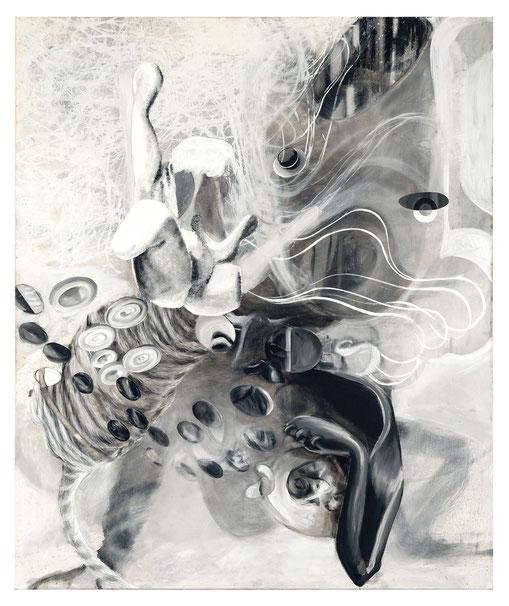 Kapriole in grau-            -Oil on canvas-     -2011-     -150x125cm