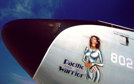 An American military aviation tradition: nose art. This example is on a KC-135 aerial tanker.