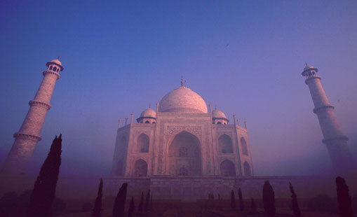 Taj Mahal in the mists of a winter morning, Agra, India.