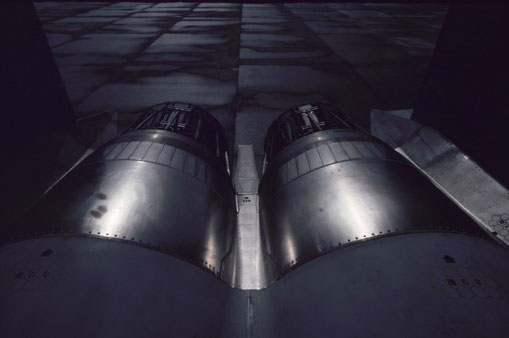 The twin exhaust nozzles of an F-15.