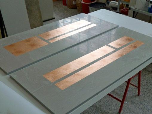 Spachteltechnik mit Kupfer als Bildobjekt