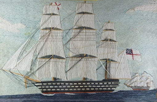 19th century sailors folk art wool work