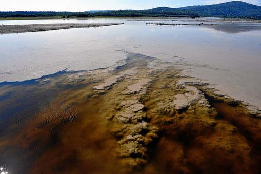 Das klare Wasser stammt vom Chenai River, die milchige Brühe vom Tanana River. Der Übergang gibt faszinierende Formen und Farben.