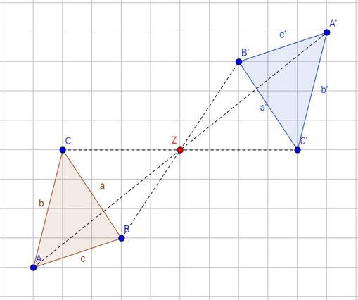 Beispiel für die Punktspiegelung von einem Dreieck
