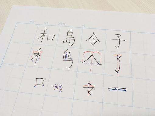 写真はサンプルです。「令和」にちなんで「和島令子」。あなたのお名前で手書きのお手本をご用意します。