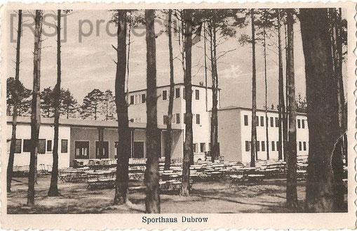 [Sporthaus Dubrow um 1930, Gartenansicht. Aufn. u. Verlag: Paul Kindler, Berlin Karlshorst, Treskow-Allee 107.Eigentum: R. Saalfeld]
