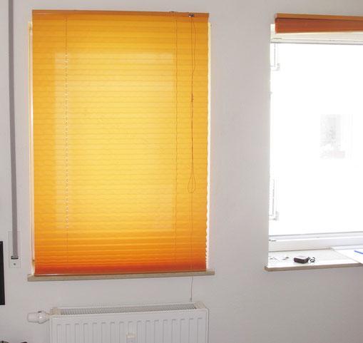 Die Jalousie deckte den gesamten Fensterbereich ab.