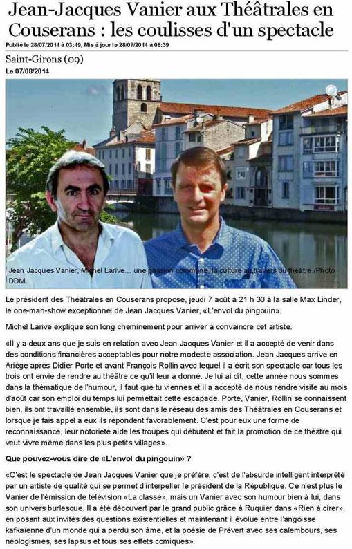 Dépêche du Midi du 28/07/2014 - Jean-Jacques Vanier à St Girons