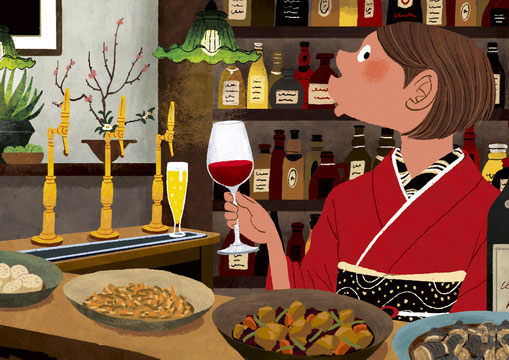 和食のバーカウンターでワイングラスを持つ和服の女性のイラスト
