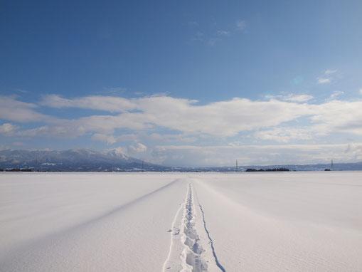 冬景色と磐梯山