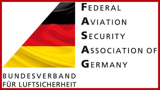 LOGO der FASAG mit rotem Rand: FEDERAL AVIATION SECURITY ASSOCIATION OF GERMANY – BUNDESVERBAND FÜR LUFTSICHERHEIT E.V.