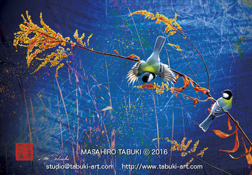 「一朶の豊穣」シジュウカラ 野鳥イラスト ワイルドライフアート  野鳥画