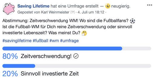 Umfrage innerhalb der Facebook-Community - Zeitverschwendung Fußball-Weltmeisterschaft 2018