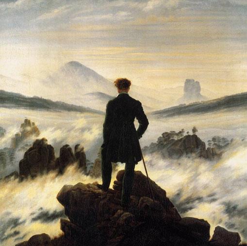 """C.D. Friedrich, """"Viandante sul mare di nebbia"""" (1818)"""