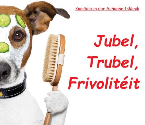 Hund mit Wellnessmaske. Dazu der Titel: Jubel, Trubel, Frivolitéit