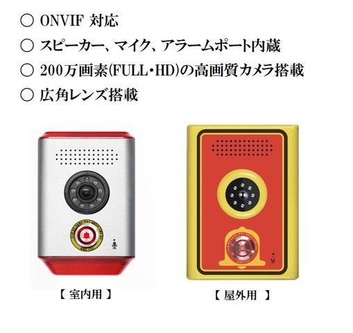 スピーカー・マイク内蔵 広角ネットワークカメラ / 非常ボタン付きPoE ネットワークカメラ/  発報ボタン付きネットワークカメラ
