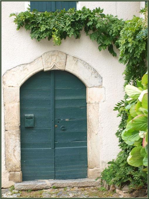 Porte ancienne (1803) à la treille au village d'Aas, Vallée d'Ossau (64)