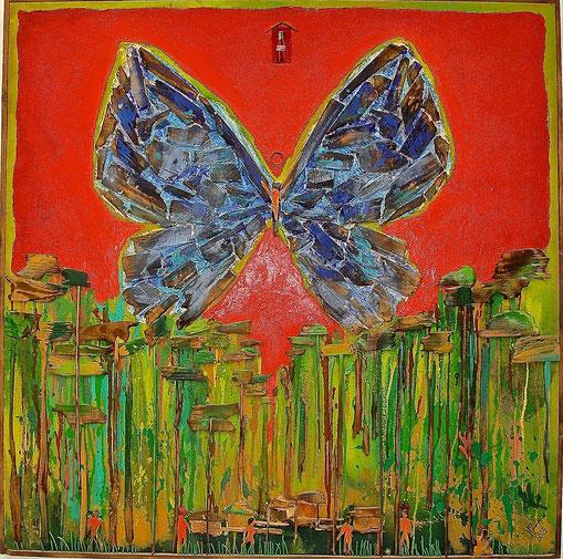 papillon, forêt, coca cola, Amazonie, primitif, tribu, peinture, art contemporain, Lesenfans, tableau
