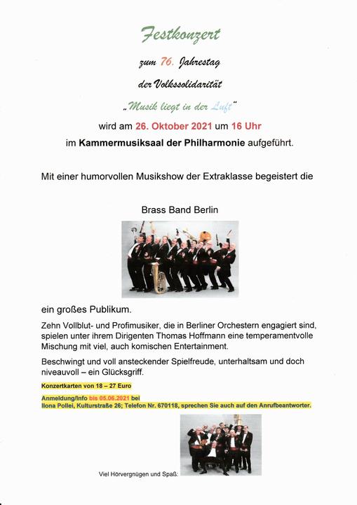 """Festkonzert zum 76. Jahrestag der Volkssolidarität """"Musik liegt in der Luft"""" - Brass Band Berlin am 26. Oktober 2021"""