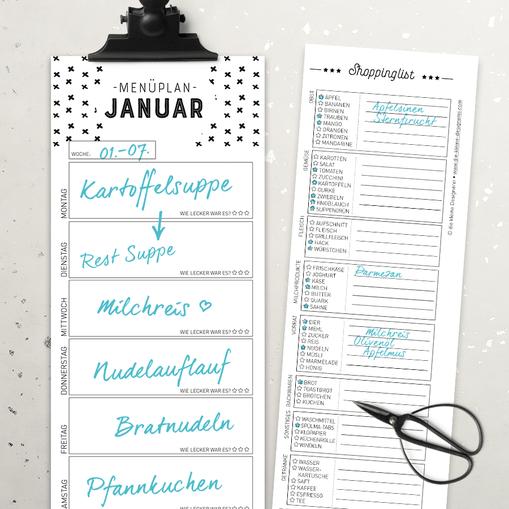 Mach dir das Leben einfacher: mit dem Menüplan mit Einkaufsliste hast du nie mehr Lebensmittel über! www.die-kleine-designerei.com