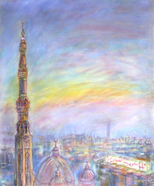Amud Uwe Millies (1932-2008): Cairo bei Nacht, 1984
